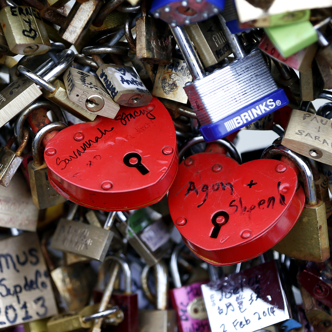 The love lock trend took off in the late 1990s. Le Monde newspaper estimated in February that there were as many as 700,000 locks on the Pont des Arts (shown here on Feb. 13) alone.