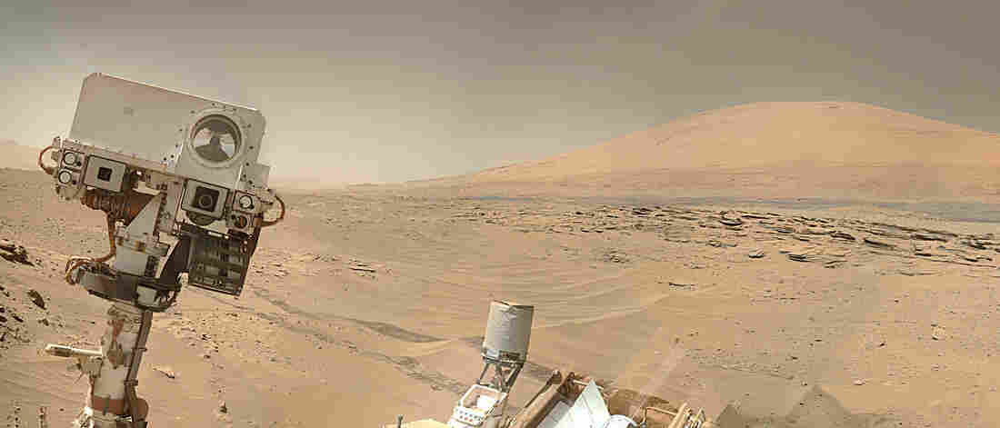 This recent rover selfie shows Curiosity's ultimate destination, Mount Sharp, in the background.