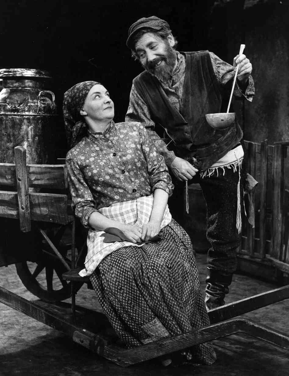 Alfie Bass as Tevye, and Avis Bunnage as Gold, during rehearsals for Fiddler on the Roof at Her Majesty's Theatre, London in 1968.