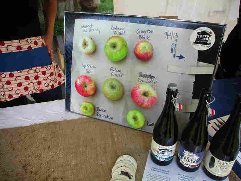 Tilted Shed's display of heirloom apple varieties at the April Cider Summit in Berkeley, Calif.