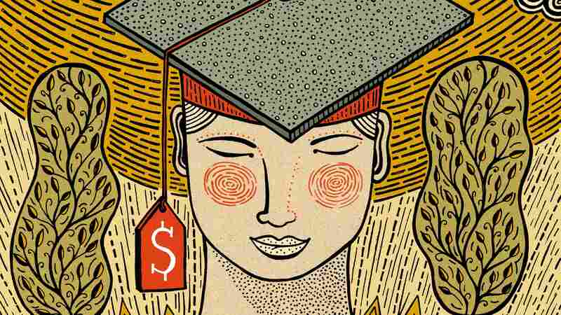 Illustration of a student in graduation attire, with a price tag hanging off the cap.