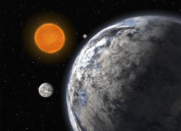 An artist's impression of a trio of super-Earths discovered with the ESO's 3.6-m telescope at La Silla, Chile.