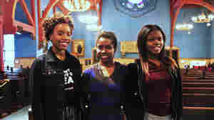 """Lavita, Sierra and Tyshierra are Freire Charter School students who stood up and told stories that made them vulnerable in front of their classmates. Lavita says now she feels """"like anything is possible."""""""