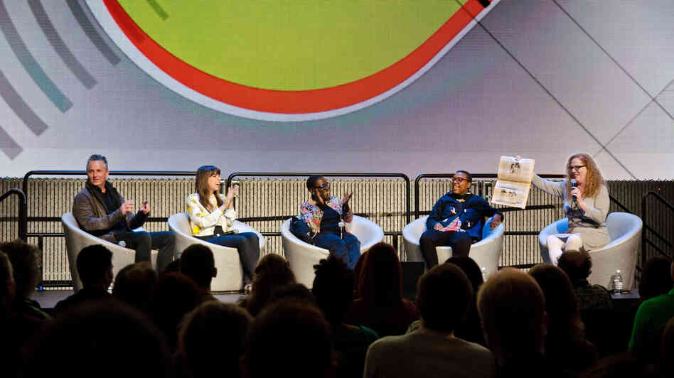NPR Music's Ann Powers (right) interviews musicians (from left) Mike McCready of Pearl Jam, Alynda Lee Segarra of Hurray for the Riff Raff, Sharon Jones and Meshell Ndegeocello at the EMP Pop Conference in Seattle.
