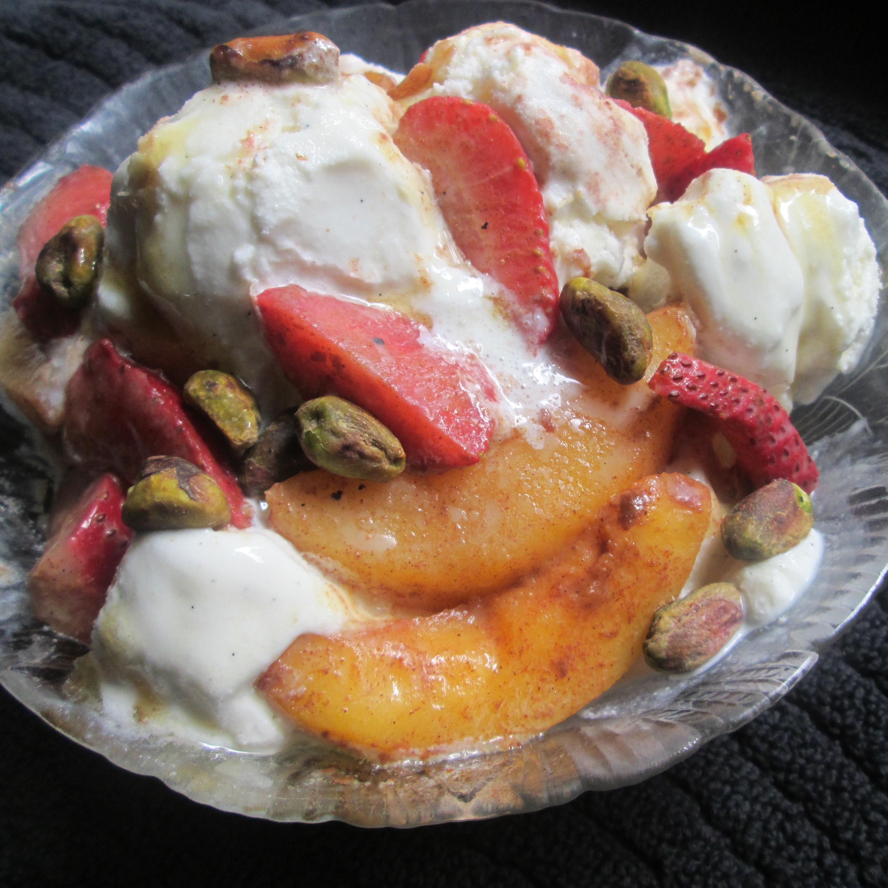 Peach Berry Sundaes With Honey
