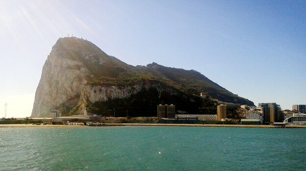 The Rock of Gibraltar, as seen from the Spanish town of La Linea de la Concepcion, at Spain's southern tip. Gibral