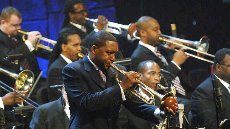 Wynton Marsalis leads the Jazz at Lincoln Center Orchestra in concert.