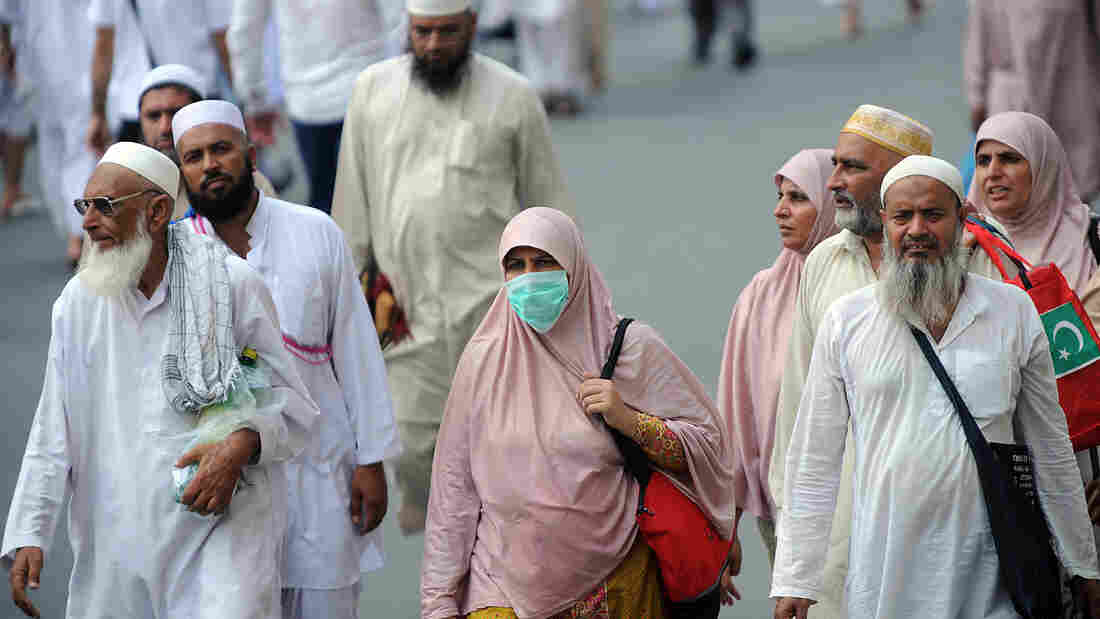 A Muslim pilgrim wears a mask in Mecca to protect against the Middle East Respiratory Syndrome in October 2013.