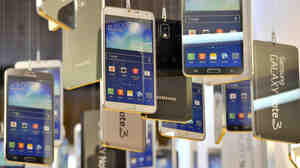 Cardboards of Samsung Electronics' Galaxy Note 3 are seen in a showroom at the company's headquarters in Seoul in November of