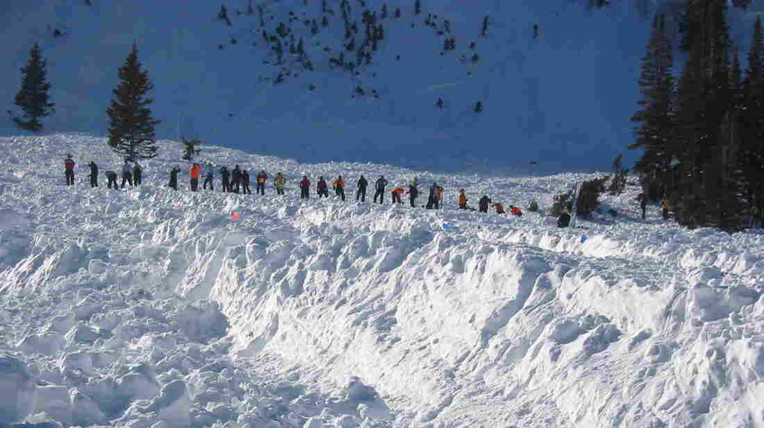 Members of the Utah County Sheriff Search and Rescue Team assist with a search for a missing skier after a 2005 avalanche in Park City. The skier was found dead days later.