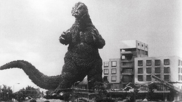 Godzilla rampaging in Tokyo