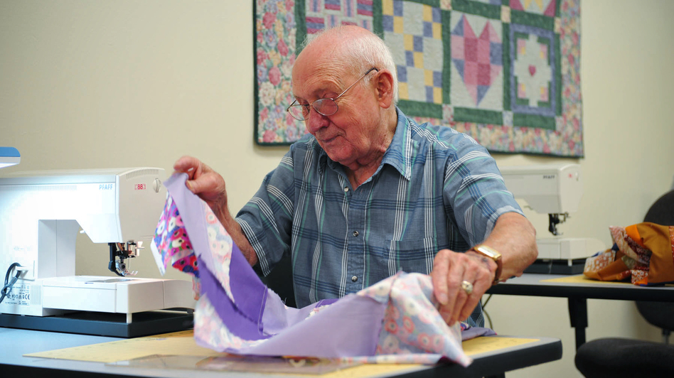 Quilting, which requires measuring and calculating, also helped improve participants' memory. (Courtesy of UT Dallas)
