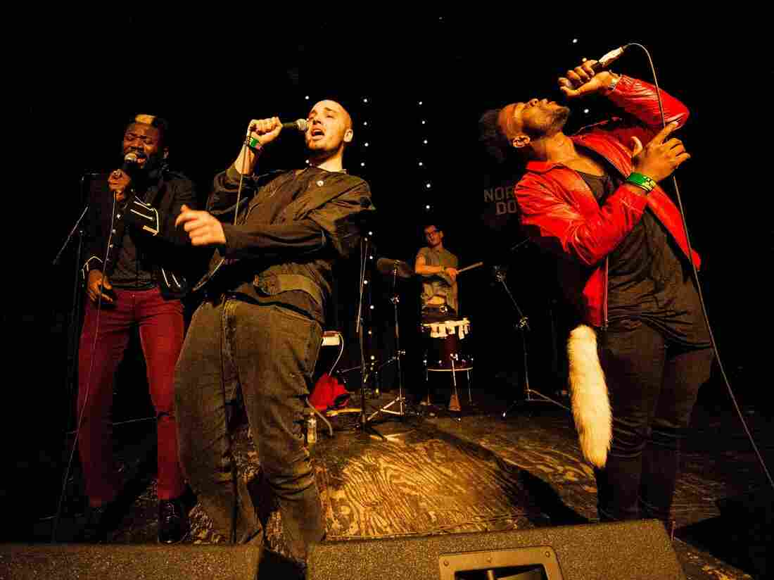 "Scottish hip-hop trio Young Fathers performs in Texas in 2013. From left: Alloysious Massaquoi, Graham ""G"" Hastings, Kayus Bankole."