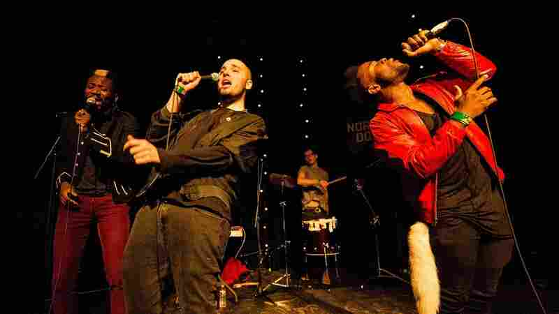 """Scottish hip-hop trio Young Fathers performs in Texas in 2013. From left: Alloysious Massaquoi, Graham """"G"""" Hastings, Kayus Bankole."""