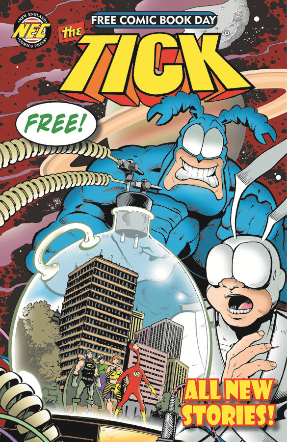 "The cover of The Tick, one of many --€"" 57, in fact --€"" comics you may be able to snag at no charge on Saturday, Free Comic Book Day."