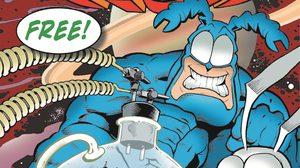 """The cover of The Tick, one of many --€"""" 57, in fact --€"""" comics you may be able to snag at no charge on Saturday, Free Comic Book Day."""