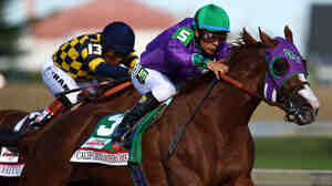 California Chrome, ridden by Victor Espinoza, comes out of the fourth turn en route to winning the 140th running of the Kentucky Derby at Churchill Downs on Saturday.