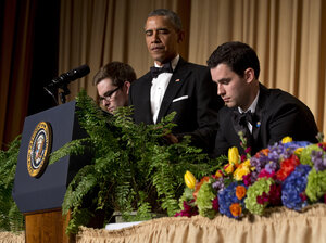 "Obama has two ferns brought to the podium as a spoof of his appearance on ""Between Two Ferns"" for his standup at the White House Correspondents' Association dinner."