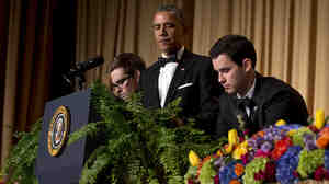 """Obama has two ferns brought to the podium as a spoof of his appearance on """"Between Two Ferns"""" for his standup at the White House Correspondents' Association dinner."""