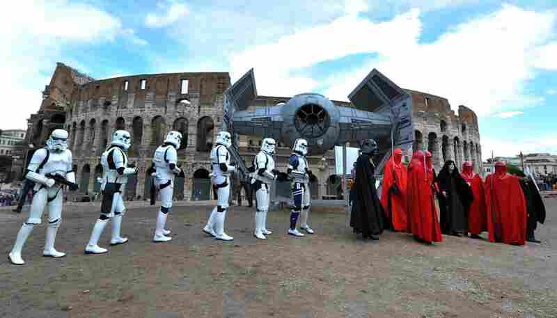 Italy: Storm troopers march in front of the Colosseum in Rome on Sunday.