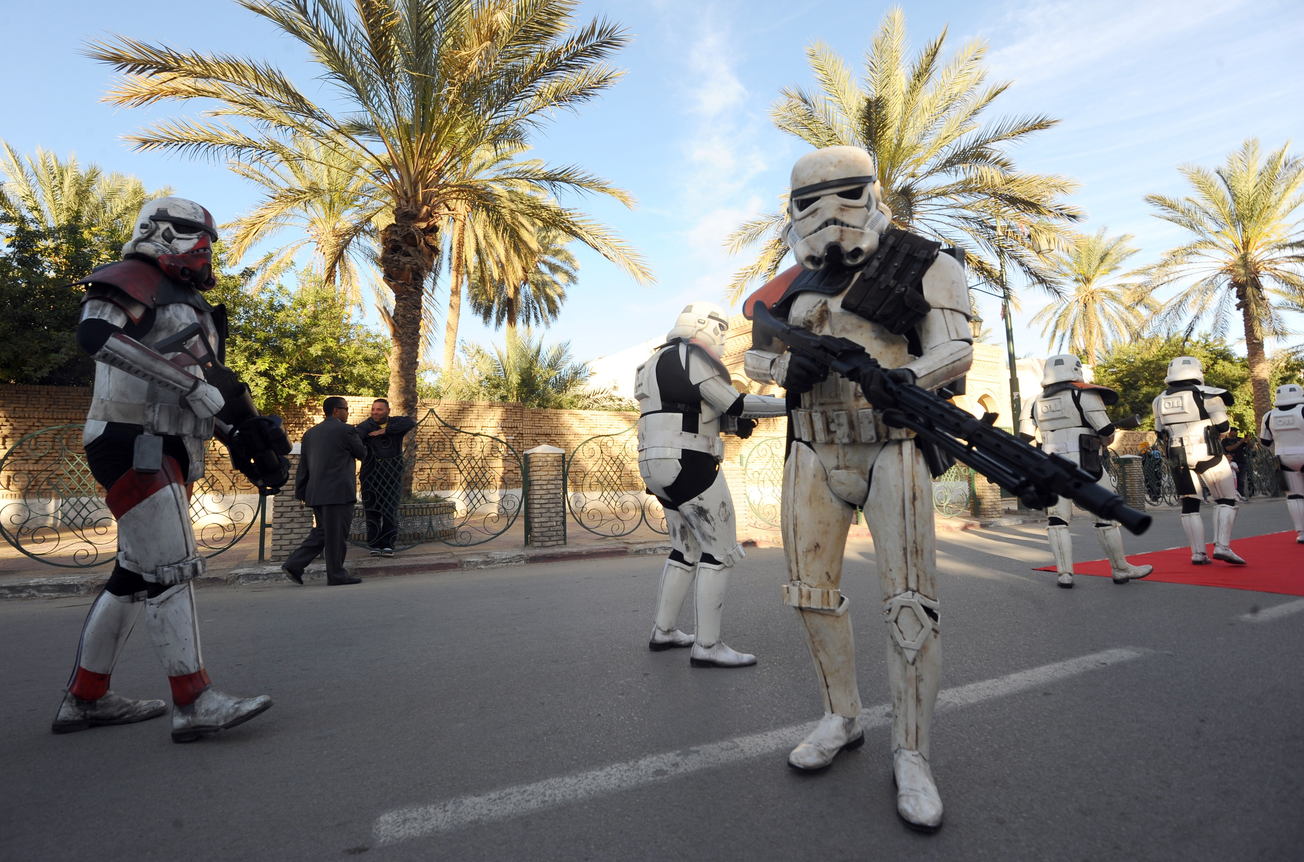Tunisia: Fans pose as stormtroopers during a parade on the last day of the first international meeting of Star Wars fans in Tozeur, southern Tunisia.