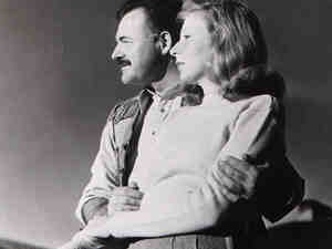 Ernest Hemingway and his third wife, Martha Gellhorn, at the Sun Valley Lodge in Idaho.