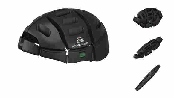"""The Morpher folds in half from a full-size bike helmet so that it can be stashed away in a laptop or shoulder bag --€"""" something urban bike-share cyclists might find especially appealing."""