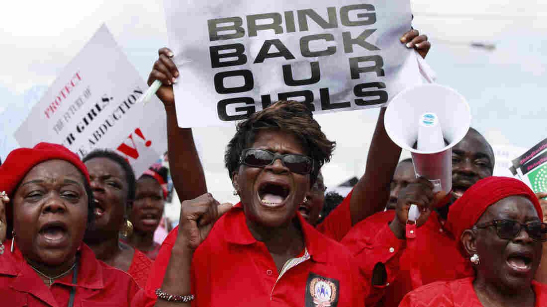 Nigerian women in Lagos on Monday demand that