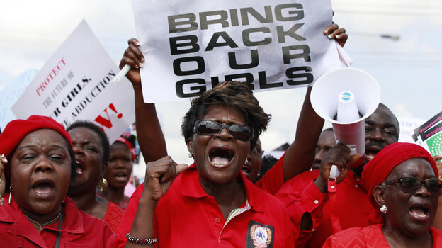 Nigerian women in Lagos on Monday demand that the government do more to rescue the teenage girls who were kidnapped three weeks ago by a radical Islamist group in the northeastern part of the country. The government says it does not know where the girls are being held or what condition they are in.