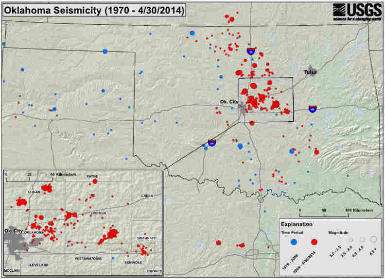 A map showing seismic activity in Oklahoma since 1970.