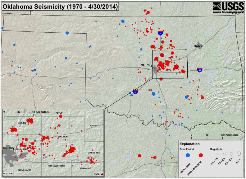 USGS Okla At Increased Risk Of Damaging Quake The TwoWay NPR - Okla map