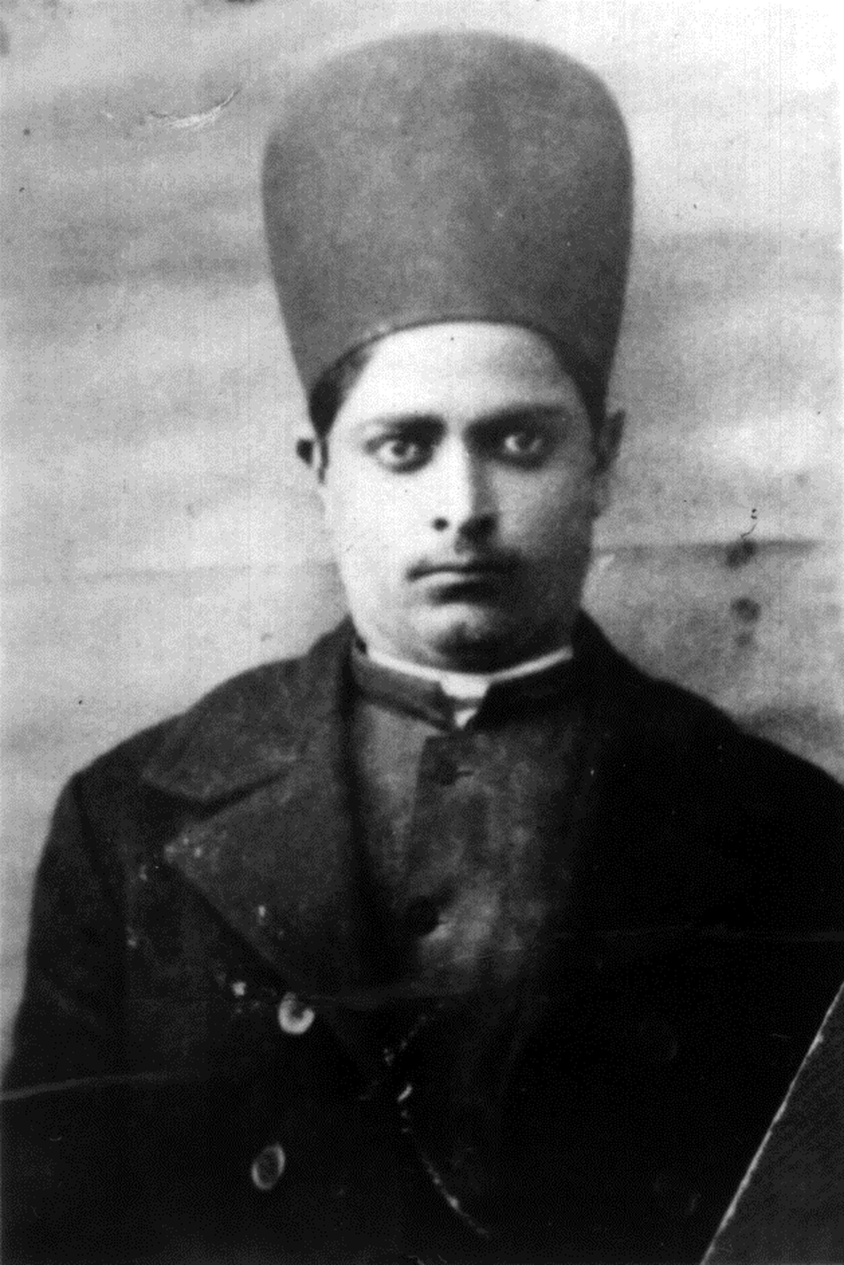 Abol Ghassem Bakhtiar circa 1900, dressed in traditional Bakhtiari garb. Abol's mother died when he was born in the late 1800's. During his childhood, he overcame both smallpox and tetanus. His father, Haji Hassan was often away, leading caravan journeys to Mecca, in Saudi Arabia. The caravan carried objects to be blessed in Mecca for people who could not afford to make the pilgrimage themselves.