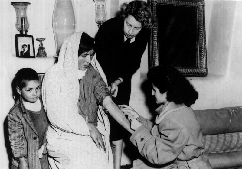 Helen in a village outside Tehran in a public health project to train nurses. She was a Public Health Nurse with President Truman's Point Four Program, circa 1951.