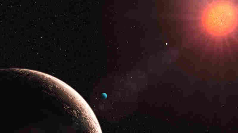 Gliese 581e (foreground) is part of a system of planets around a red dwarf sun that may include a body orbiting in the habitable zone.