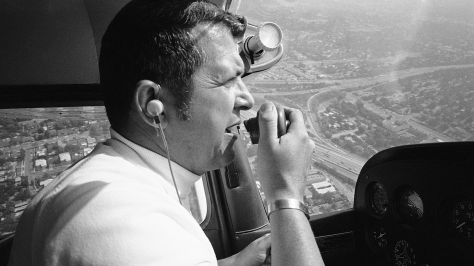 Former U-2 spy plane pilot Francis Gary Powers reports on traffic for a Los Angeles radio station in 1973. Airspace around L.A. was disrupted by a U-2 last week, 54 years after Powers crashed one in the Soviet Union. (AP)