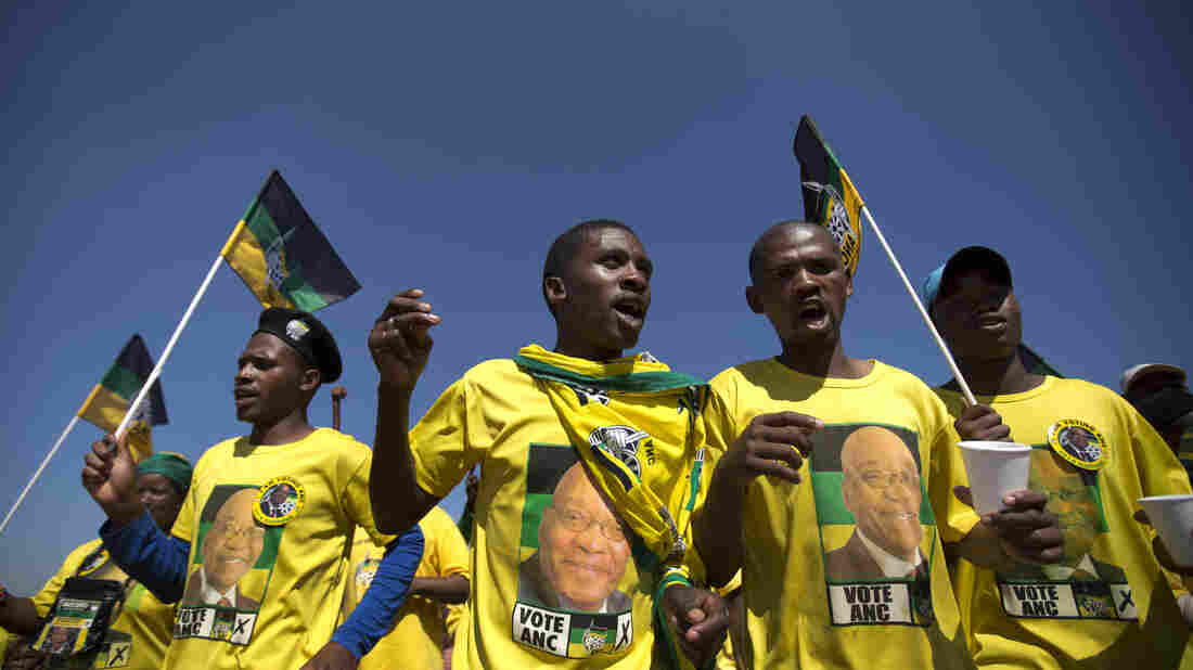 Supporters of President Jacob Zuma and the ruling African National Congress stage a rally Saturday near Johannesburg. The party has led South Africa for 20 years and is heavily favored Wednesday but faces increasing criticism.