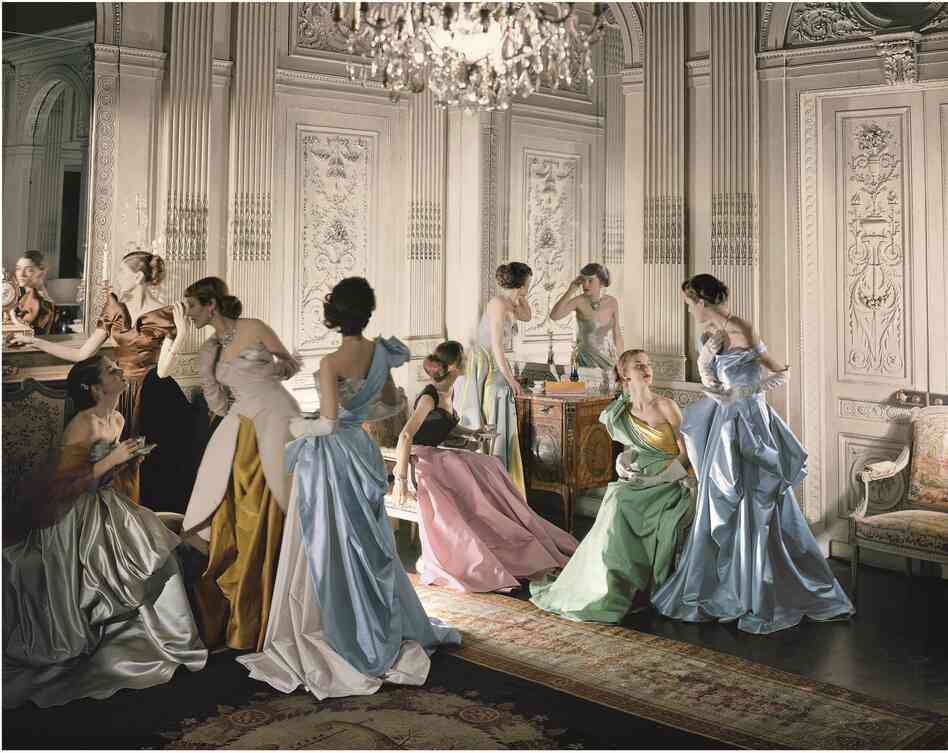 This famous 1948 photo by Cecil Beaton shows a group of young models in Charles James gowns.