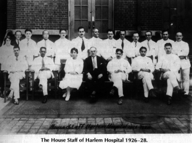 Abol joined Harlem Hospital for his residency in 1927 during the Harlem Renaissance. He began working alongside renowned African-American surgeon Aubre Maynard. In this staff photo Abol is standing behind the man in the dark suit. Dr. Aubre Maynard is second from the left in the front row.