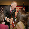 Thom Tillis greets supporters at a election night rally in Charlotte, N.C., after winning the Republican nomination for the U.S. Senate on Tuesday.