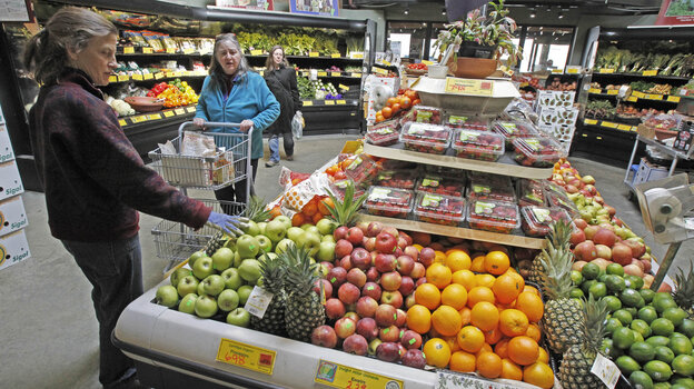 Customers shop for produce at the Hunger Mountain Co-op in Montpe