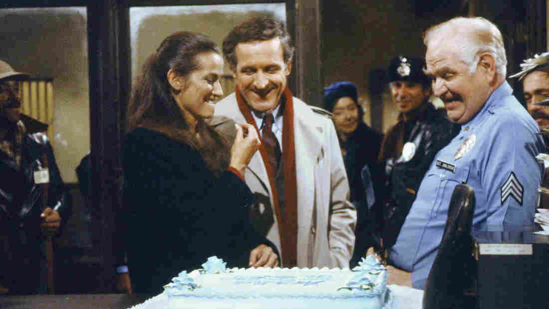 Among Hill Street Blues' many innovations, says David Bianculli, was focusing on a large ensemble cast instead of one or two central stars. Pictured here: Veronica Hamel as Joyce Davenport, Daniel J. Travanti as Capt. Frank Furillo and Robert Prosky as Sgt. Stan Jablonski.