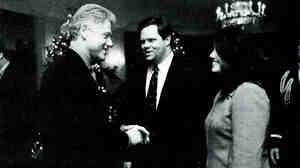 Former White House intern Monica Lewinsky meets President Clinton at the White House on Dec. 16, 1996. Lewinsky, whose affair with Clinton eventually led to his impeachment, has written an article in Vanity Fair in which she talks about her life after the scandal.