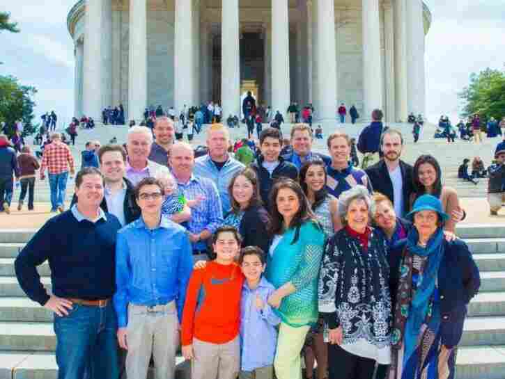 Iran Davar Ardalan (center front row) and her family at the Thomas Jefferson Memorial, April 5, 2014. Two of Abol and Helen's children appear in this photo – Davar's mother Laleh Bakhtiar and her aunt Parveen McNair.