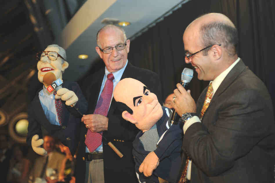 Carl and Peter meet their puppet doppelgangers at Wait Wait's 10th-anniversary party.