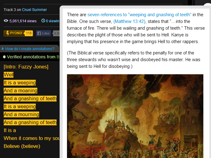 """Kanye's """"Mercy"""" on Rap Genius with an explanation of the first line."""