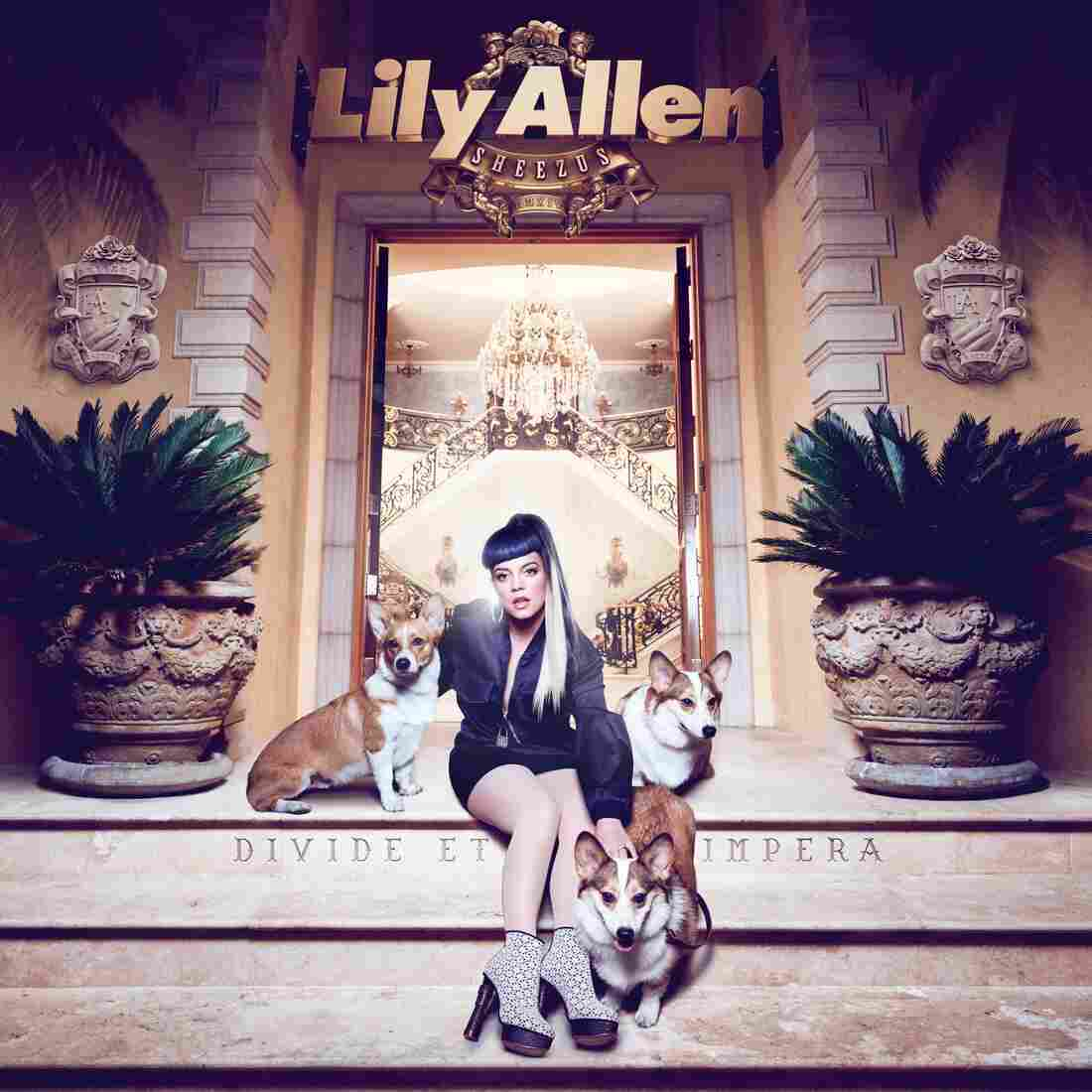 The album cover for Lily Allen's Sheezus goes after multiple targets, including Kanye West (in the album's title) and Queen Elizabeth II (the corgis).