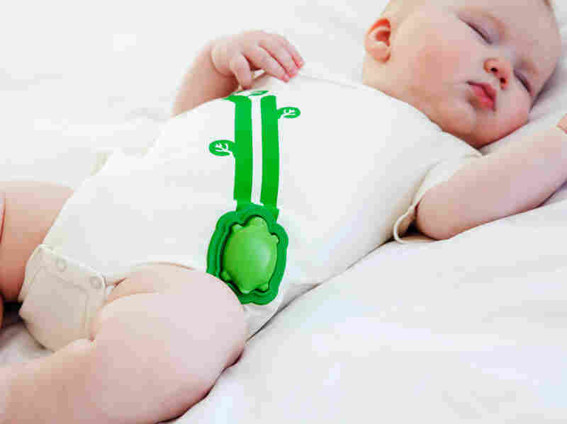 Mimo, a wearable device for babies, sends data to an app on your phone about your baby's breathing and temperature.