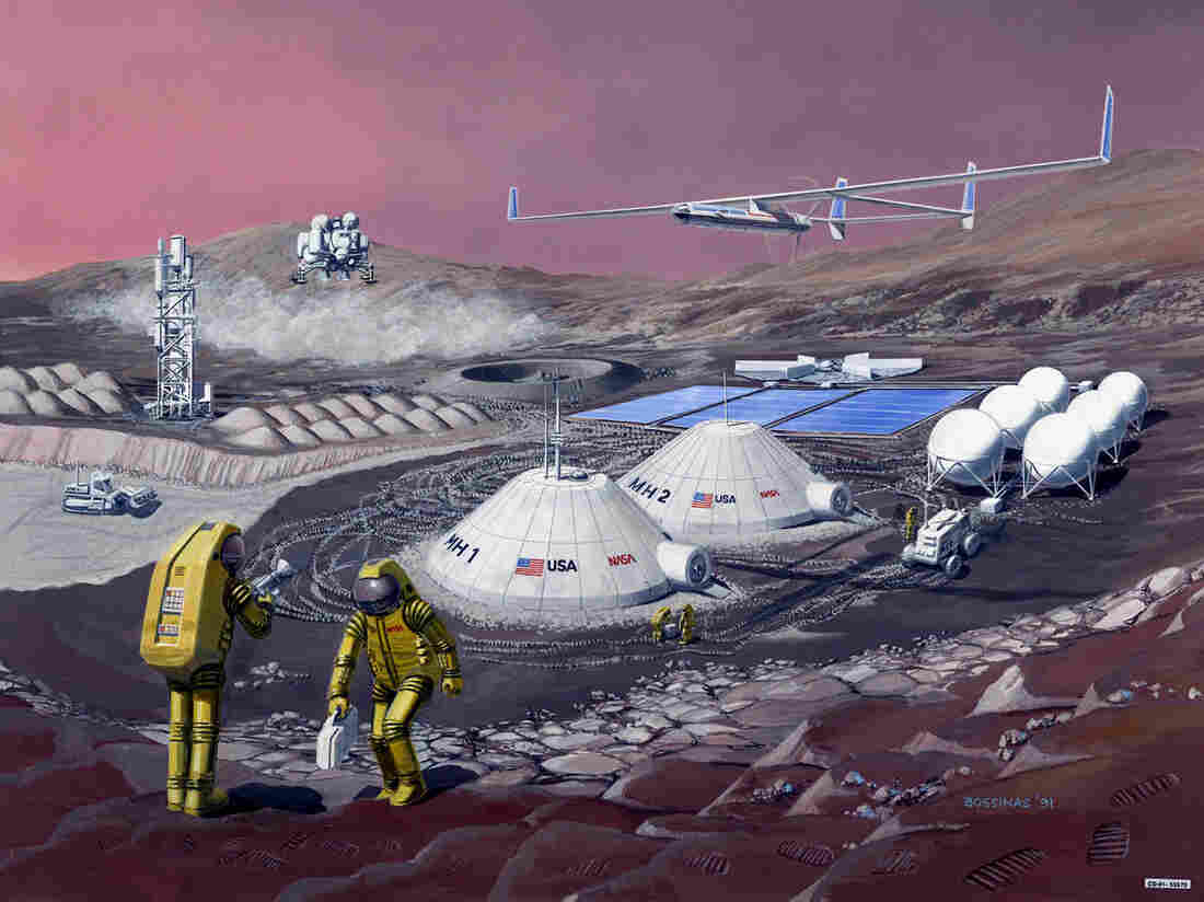 An illustration of what an American outpost on Mars might look like.