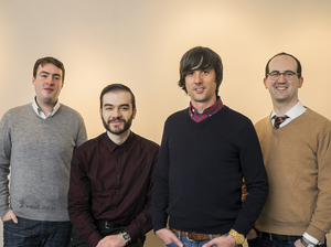 The website RocketHub connects startups with a funding network. Here, the site's founders (from left): Alon Hillel-Tuch, Vladimir Vukicevic, Brian Meece and Jed Cohen.