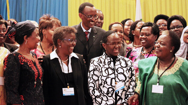 Rwandan President Paul Kagame takes part in a conference on the role of women at the nation's Parliament in the capital, Kigali, in 2010. Women in Rwanda account for 64 percent of the lower house of Parliament — a higher percentage than in any other country.